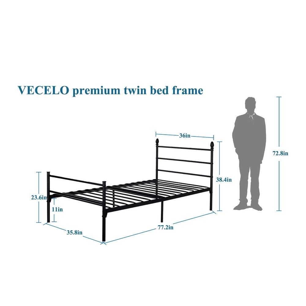 Shop Vecelo Black Metal Bed Frame - Free Shipping Today - Overstock ...