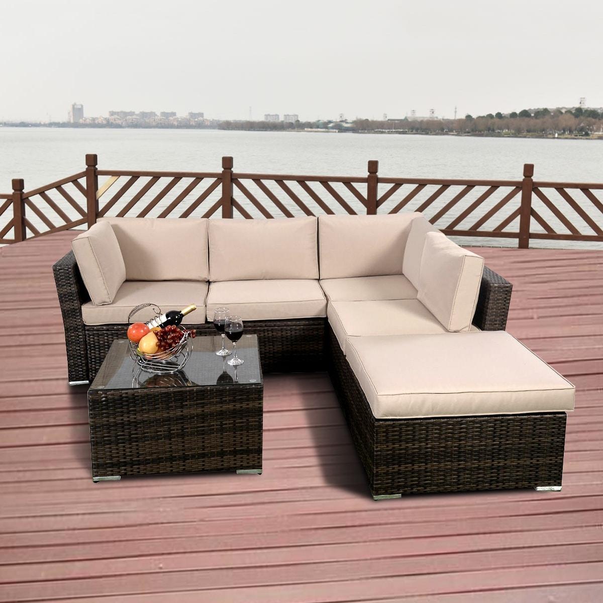 Costway 4pcs Wicker Cushioned Patio Rattan Furniture Set Sofa 5 Seat Garden Lawn Brown Free Shipping Today 15943336