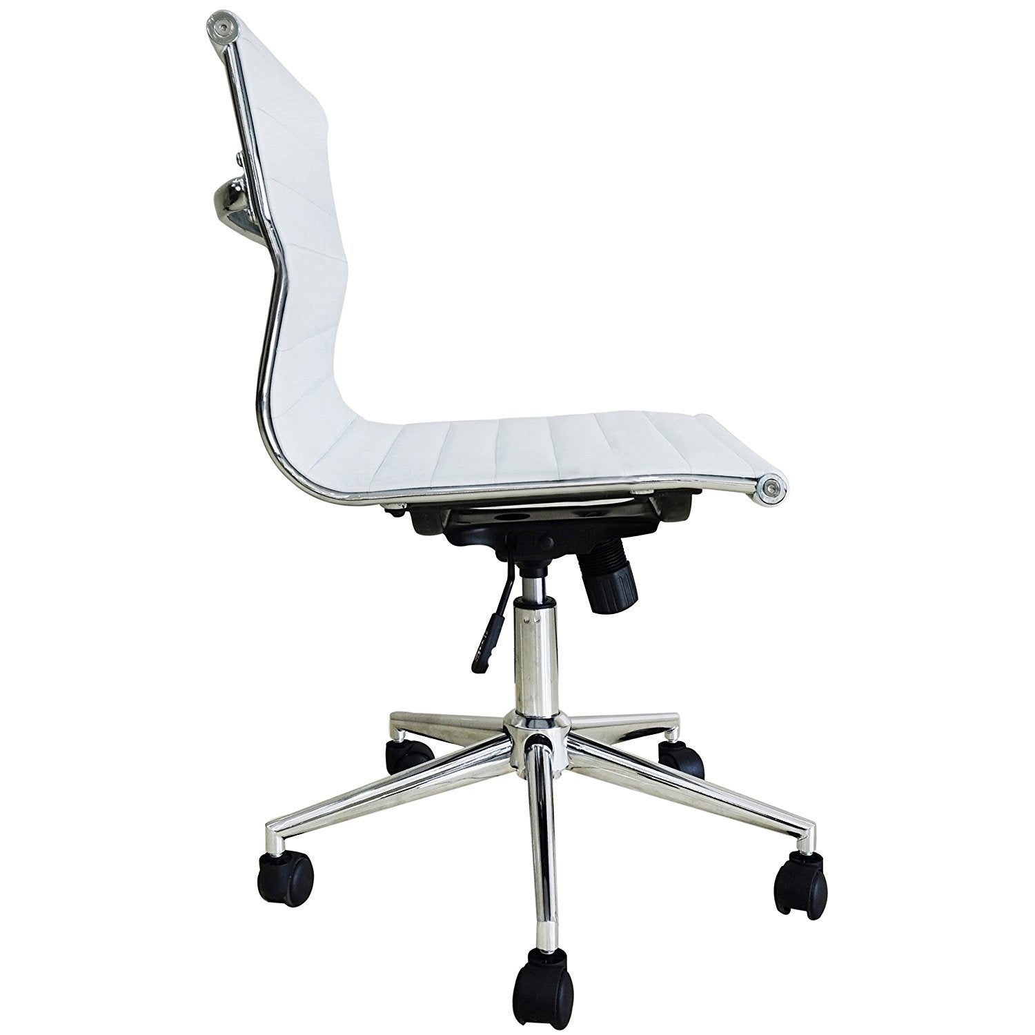 2xhome Modern Mid Back fice Chair White Armless Adjustable Seat
