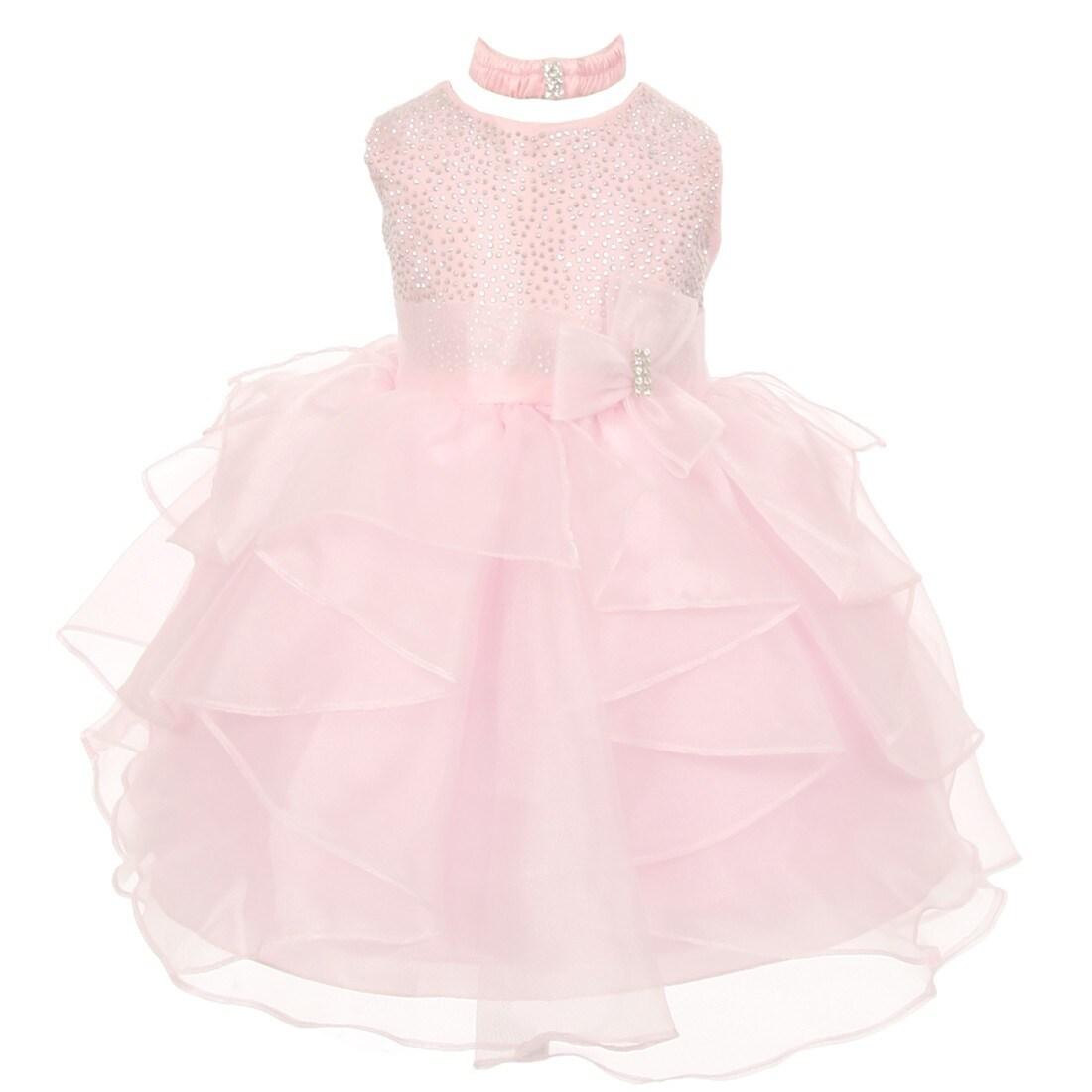 Shop Baby Girls Light Pink Organza Rhinestuds Bow Sash Flower Girl