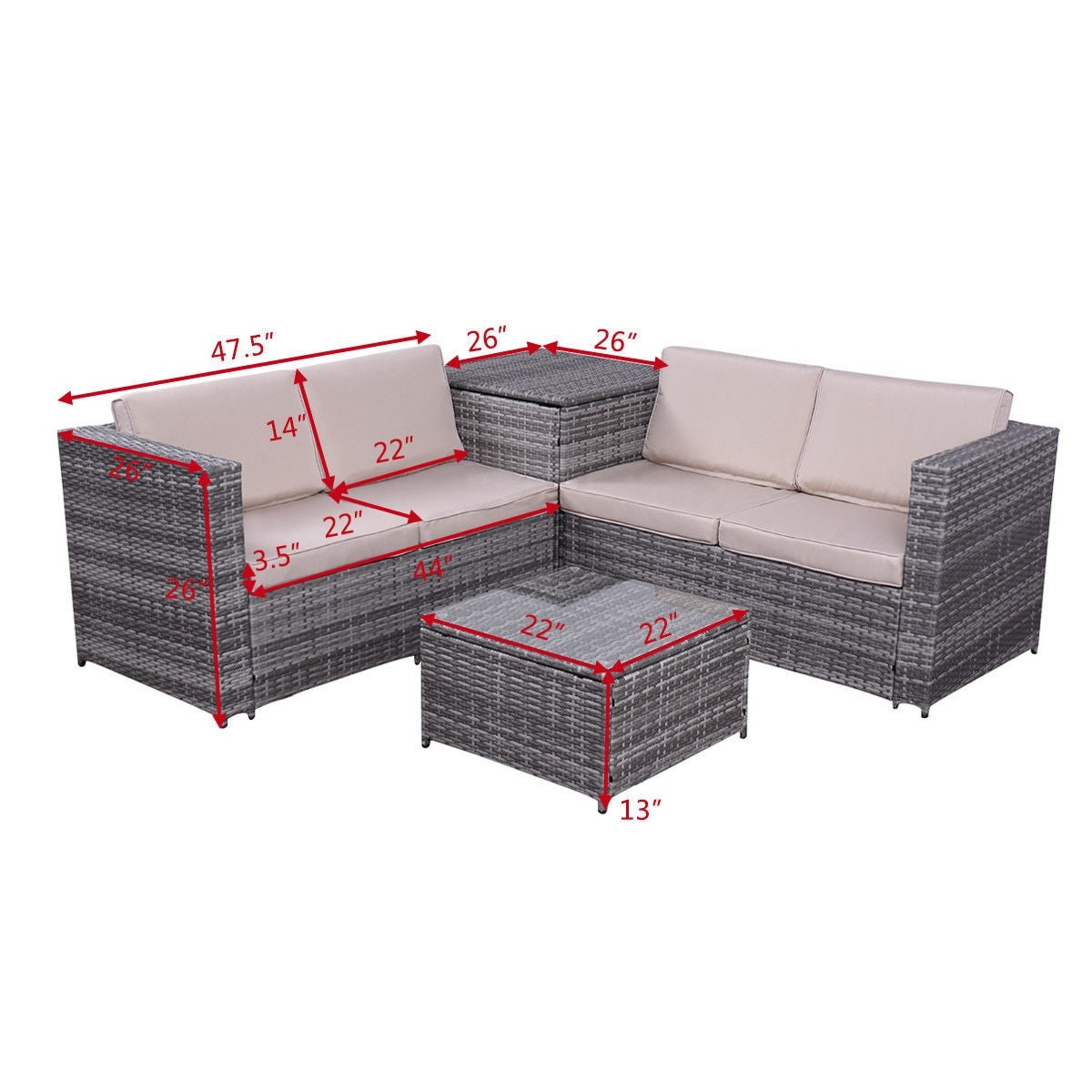 Shop Costway 4PCS Patio Rattan Wicker Furniture Set Sofa Loveseat Cushioned  W/Storage Box   As Pic   Free Shipping Today   Overstock.com   16339809