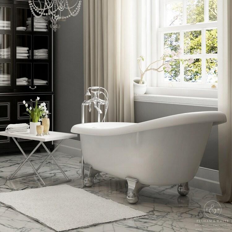 Shop Pelham & White Luxury 60 Inch Clawfoot Slipper Tub with Chrome ...