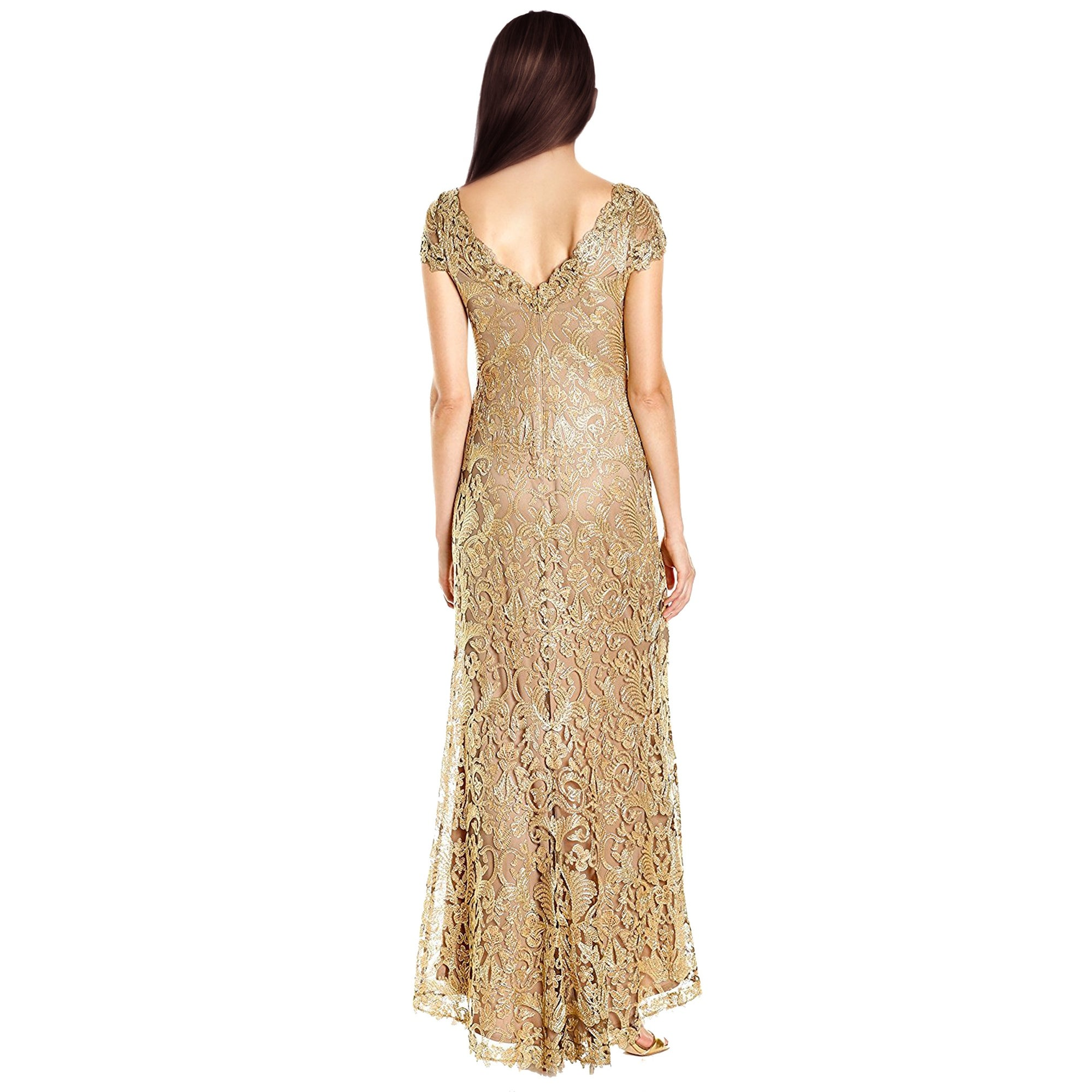 Shop Tadashi Shoji Cord Embroidered Lace Cap Sleeve Evening Gown ...