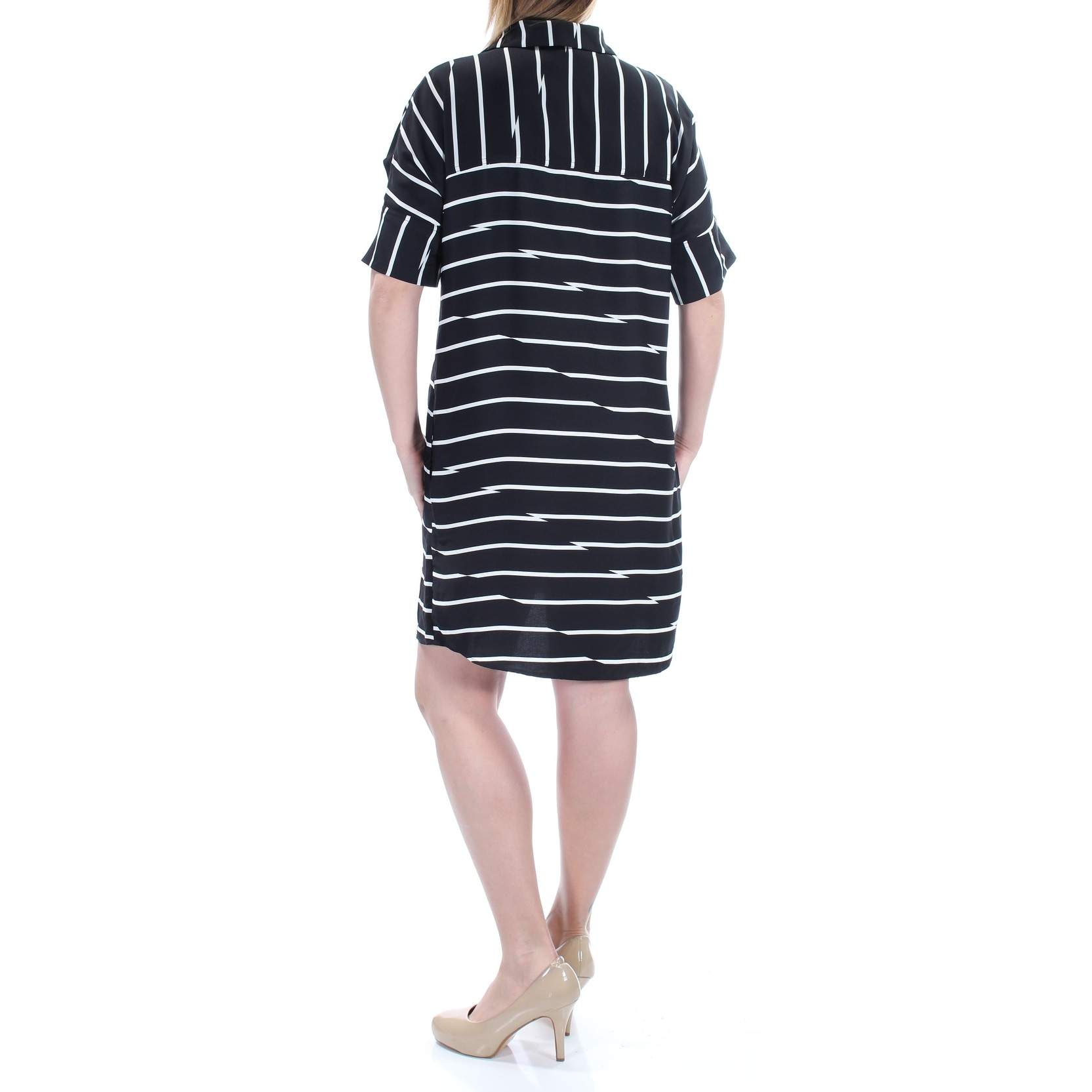 Shop Womens Black White Striped Short Sleeve Mini Shirt Dress Size
