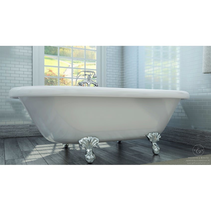 Shop Pelham & White Luxury 72 Inch Clawfoot Tub with Chrome Ball and ...