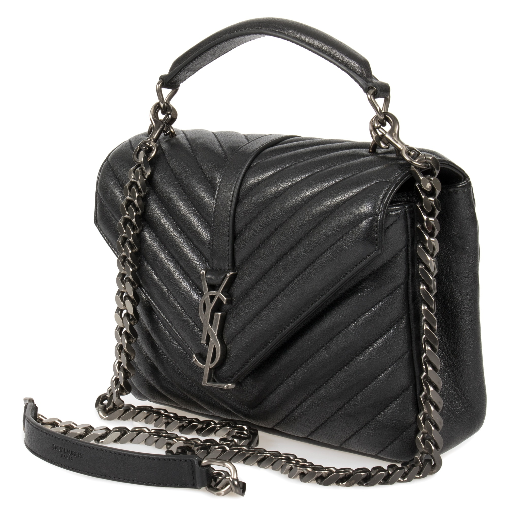 977c228017c Shop Saint Laurent Classic Medium Monogram Black Matelasse Leather College  Bag - Ships To Canada - Overstock - 23076884