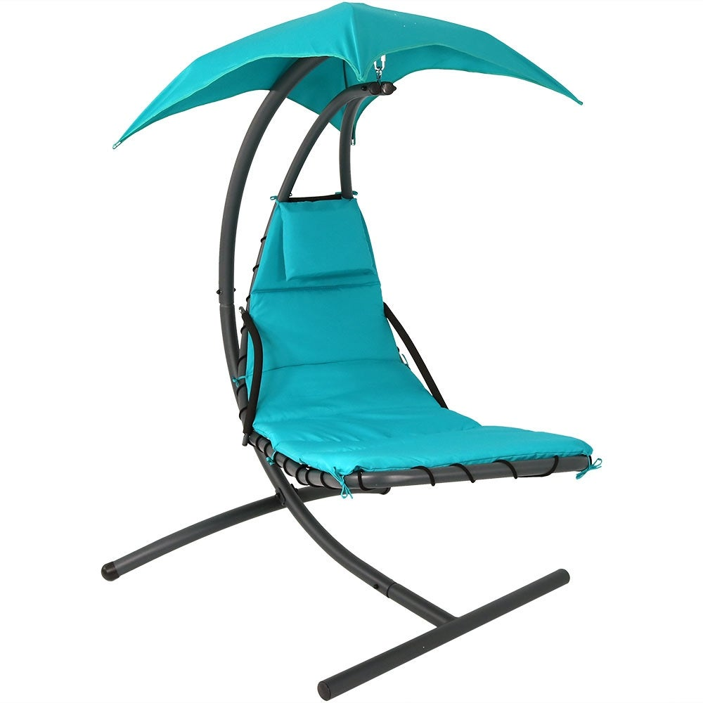 Shop Sunnydaze Floating Chaise Lounger Swing Chair with Canopy 79 Inch Long 260 Pound Capacity - Free Shipping Today - Overstock.com - 15368244  sc 1 st  Overstock.com & Shop Sunnydaze Floating Chaise Lounger Swing Chair with Canopy 79 ...