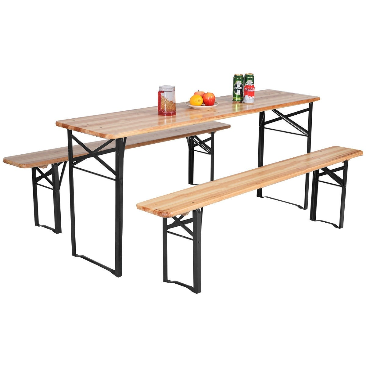 Costway 3 Pcs Beer Table Bench Set Folding Wooden Top Picnic Patio Garden