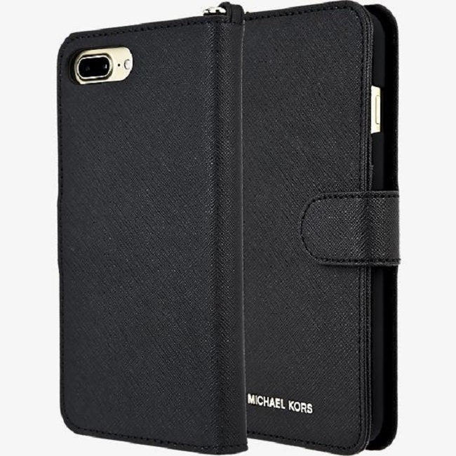 1985e005ef78 Shop Michael Kors Saffiano Leather Folio Phone Case for iPhone 8 Plus / iPhone  7 Plus - Black - Free Shipping Today - Overstock - 22903230