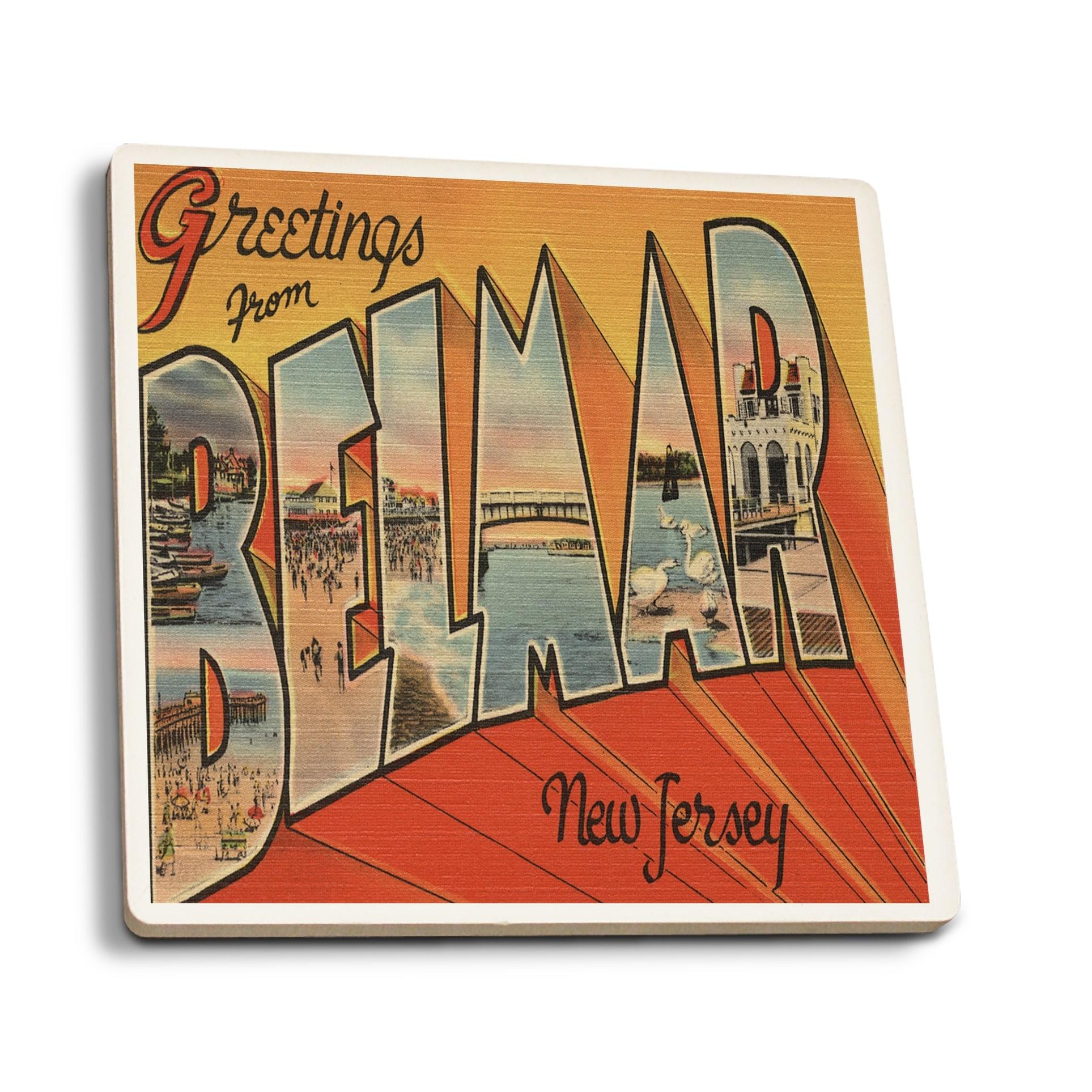 Shop Greetings From Belmar Nj Vintage Halftone Set Of 4 Ceramic