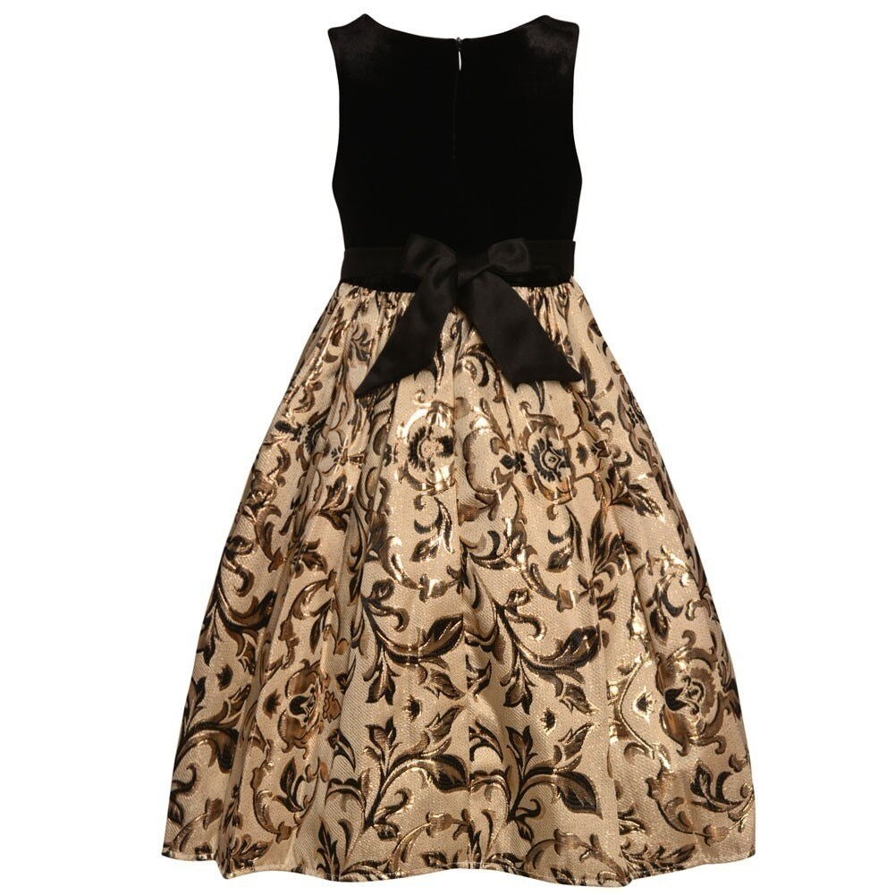 92dcb2548565 Shop American Princess Little Girls Black Gold Scroll Tea Length Christmas  Dress - Free Shipping On Orders Over $45 - Overstock - 25542141