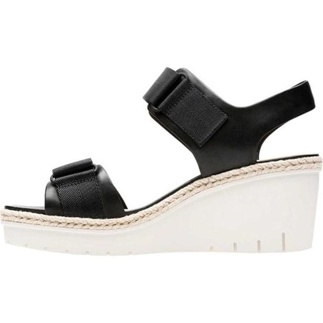 9c4ed20eff9 Shop Clarks Women s Palm Shine Wedge Sandal Black Leather - Free Shipping  On Orders Over  45 - Overstock - 20590161