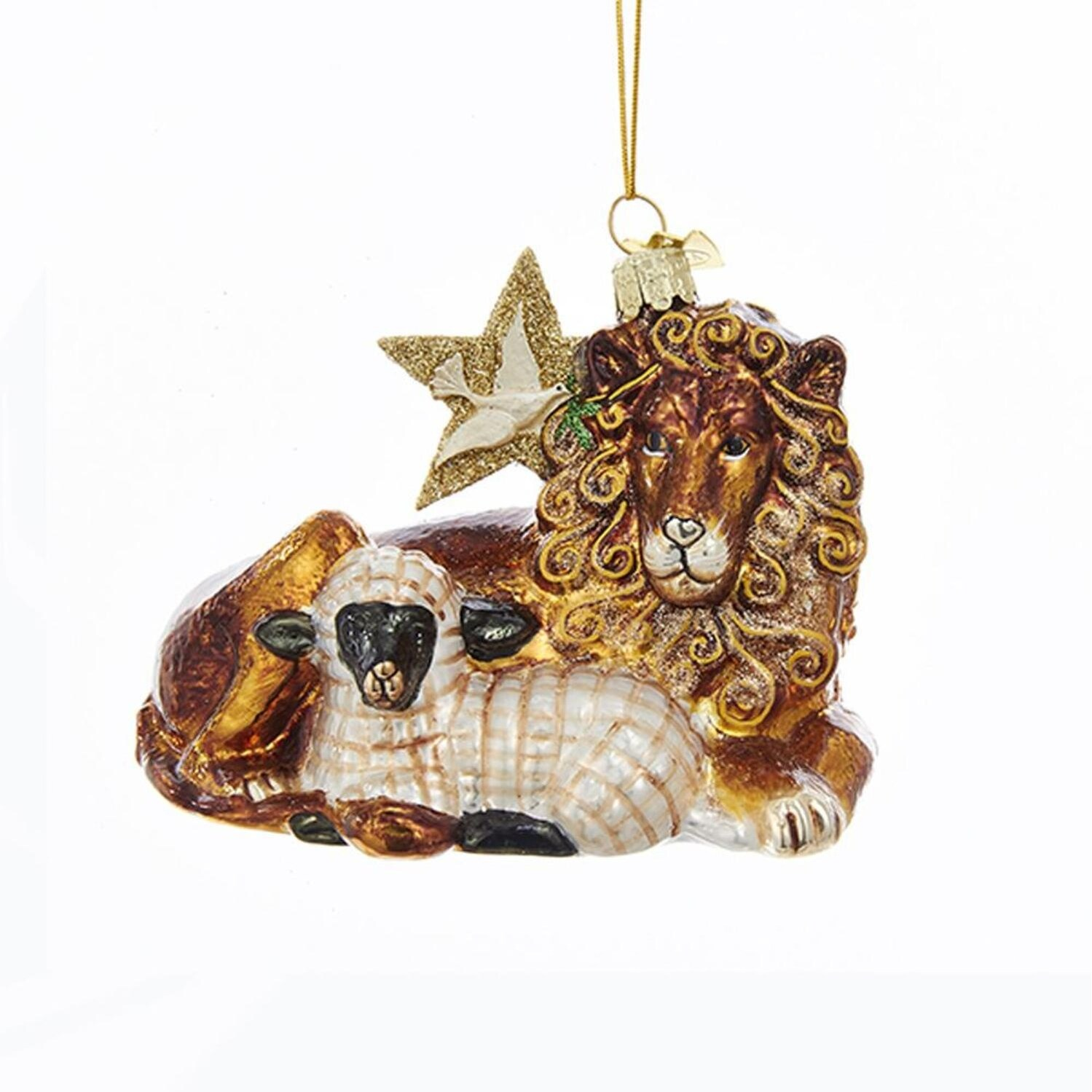 Pack Of 8 Brown Lion And Lamb Shaped Glass Christmas