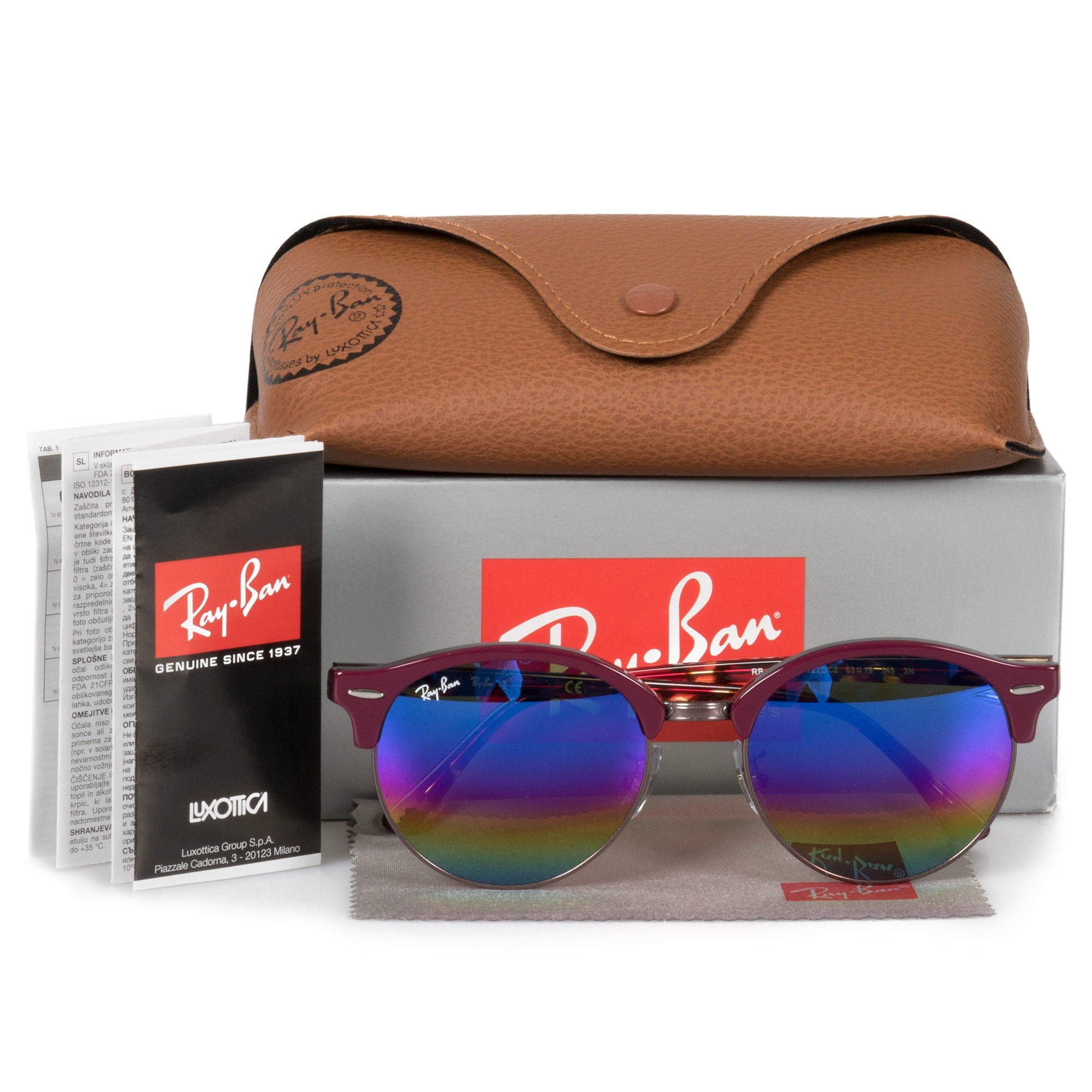 2bb91a99fe2c1 Shop Ray-Ban Clubround Mineral Flash Lens Sunglasses RB4246-F 1222C2 53 -  Free Shipping Today - Overstock - 28175507