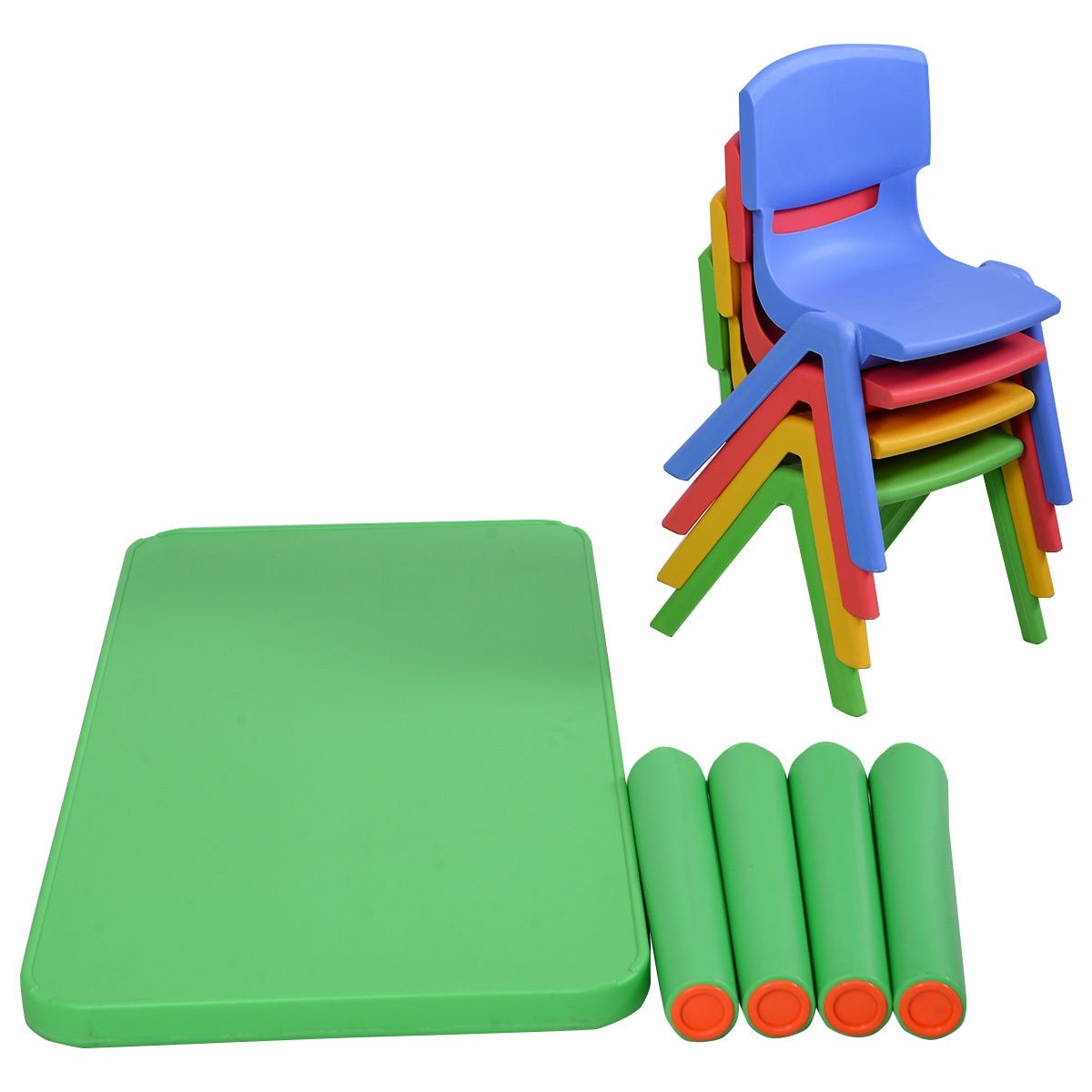 Shop Costway Kids Plastic Table And 4 Chairs Set Colorful Play School Home  Fun Furniture   As Pic   On Sale   Free Shipping Today   Overstock.com    17765575