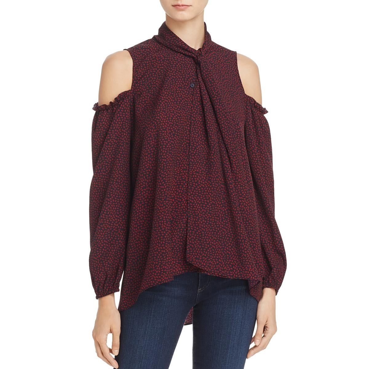 565ad355 Shop French Connection Womens Callie Button-Down Top Printed Tie Neck - On  Sale - Free Shipping On Orders Over $45 - Overstock - 22751078