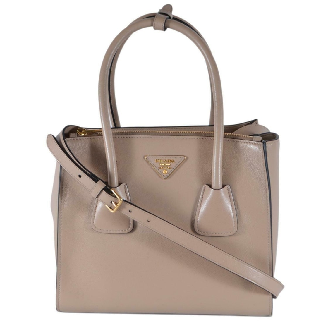 889f83e4011 Prada 1BG625 Cammeo Glace Leather Twins Convertible Shopper Purse Handbag -  Brown/Beige