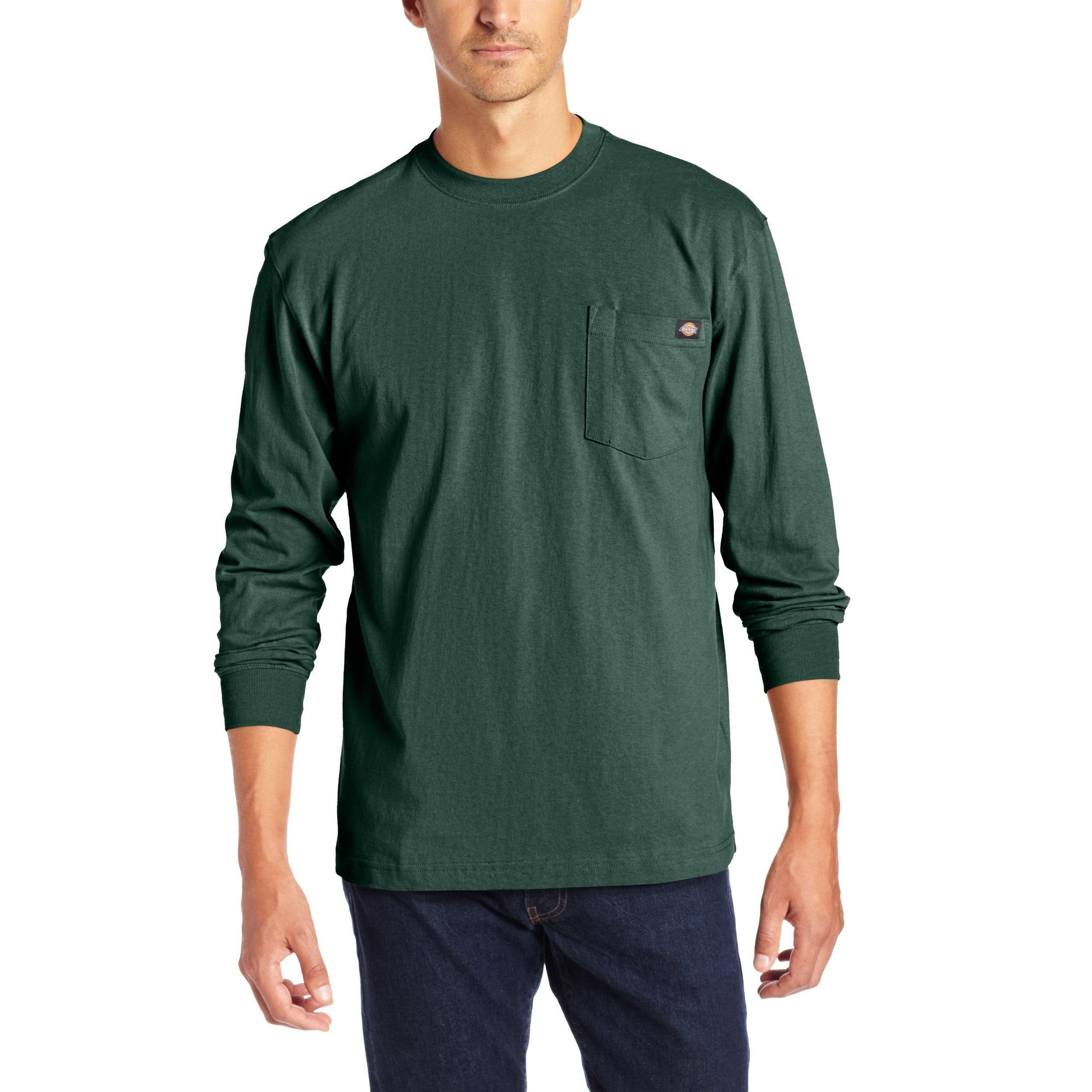 Dickies Heavyweight Long Sleeve Pocket Tee Big T Hunter Green