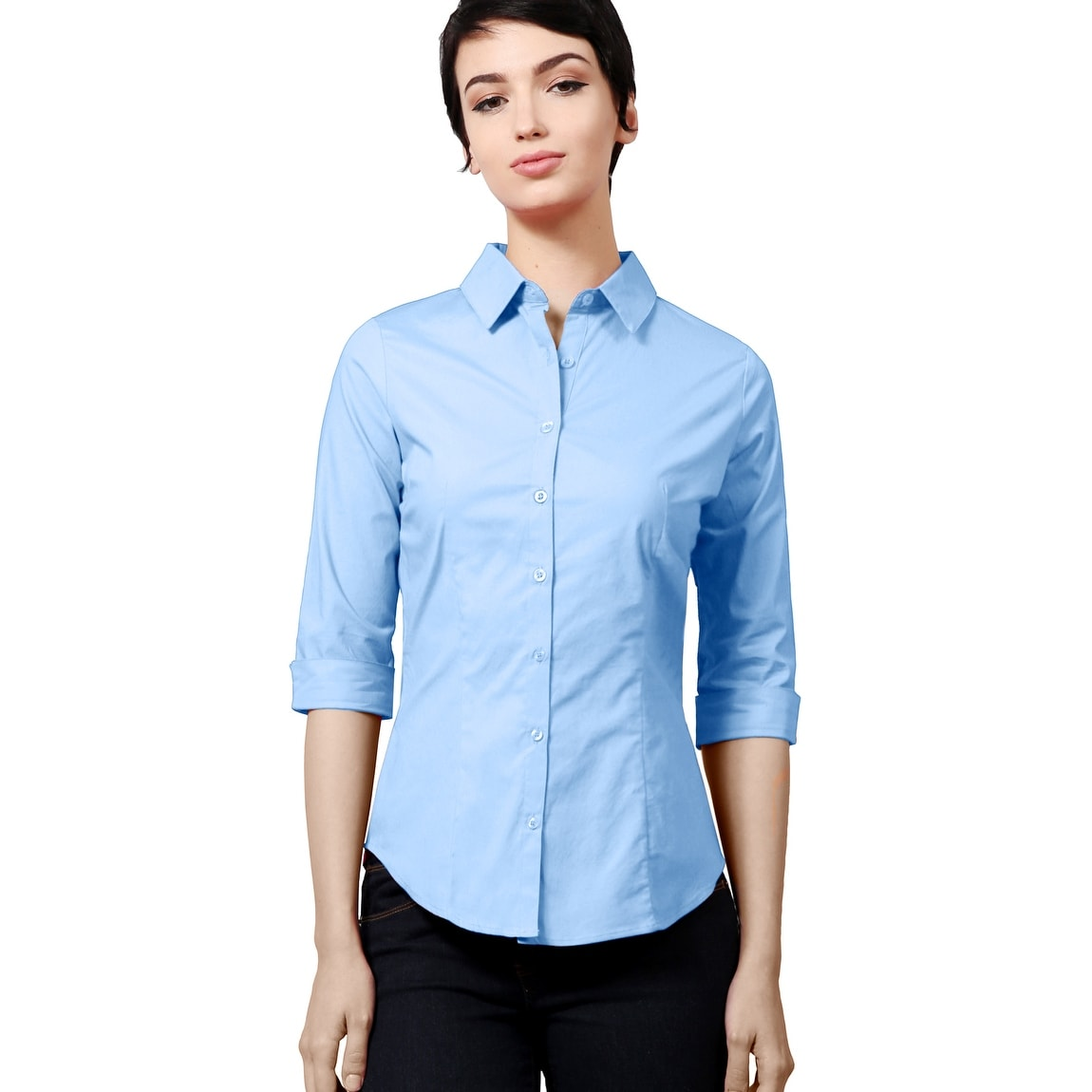 Shop Ne People Womens Simple 34 Sleeved Button Down Collared