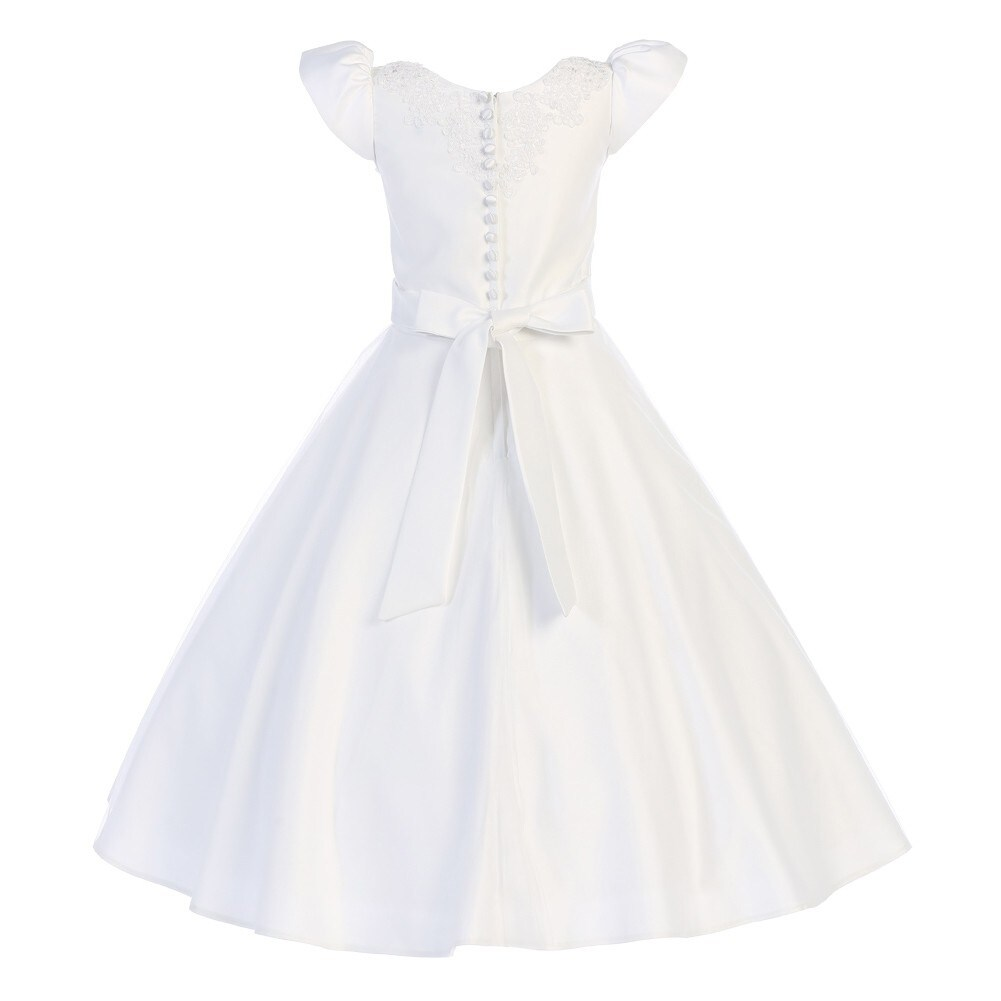5daf044a0c9 Shop Swee Pea   Lilly Little Girls White Lace Satin Tea-Length Communion  Dress - Free Shipping Today - Overstock - 18171199