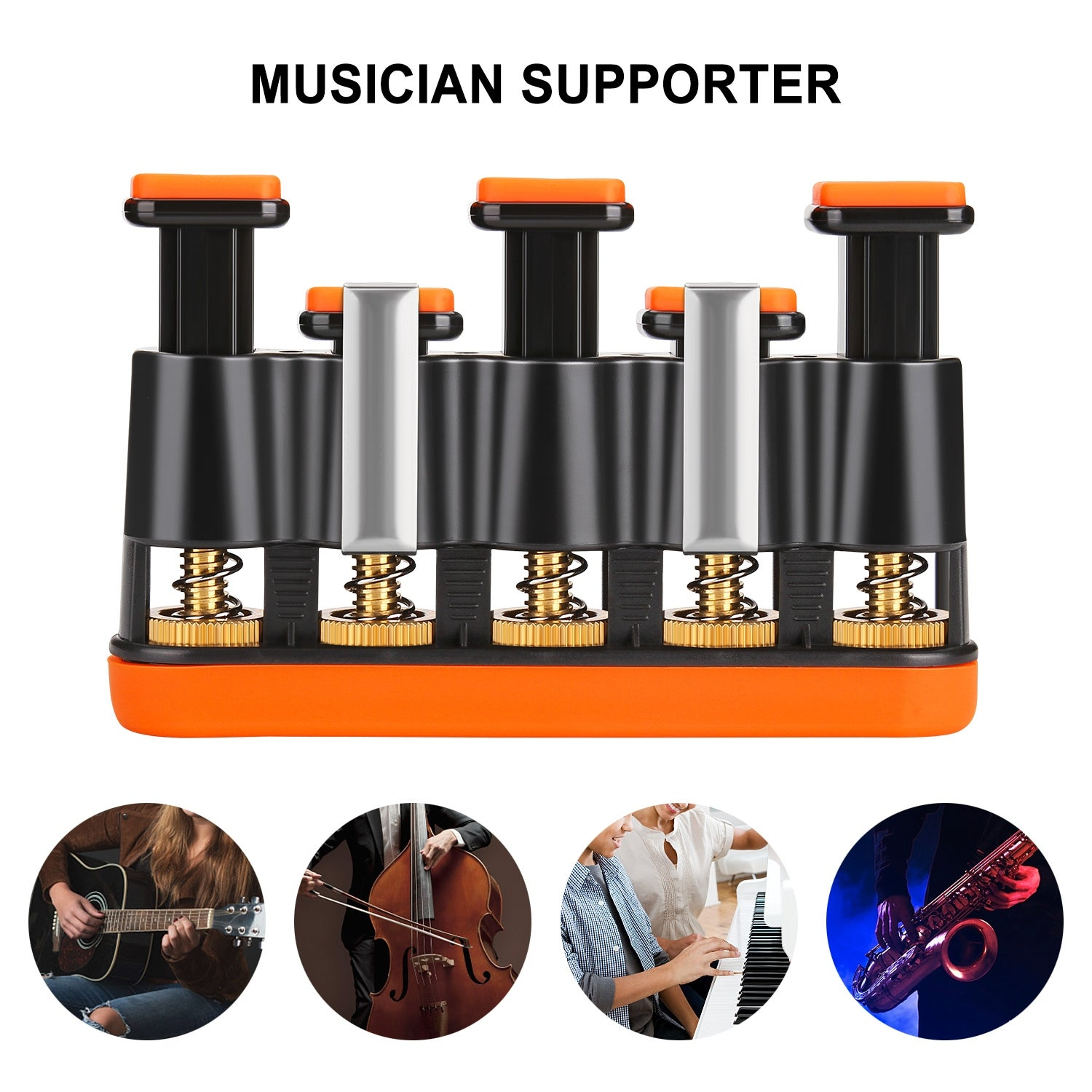 Professional Guitar Hand Finger Exerciser 4 Adjustable Tension Hand Grip Trainer Musical Instruments & Gear