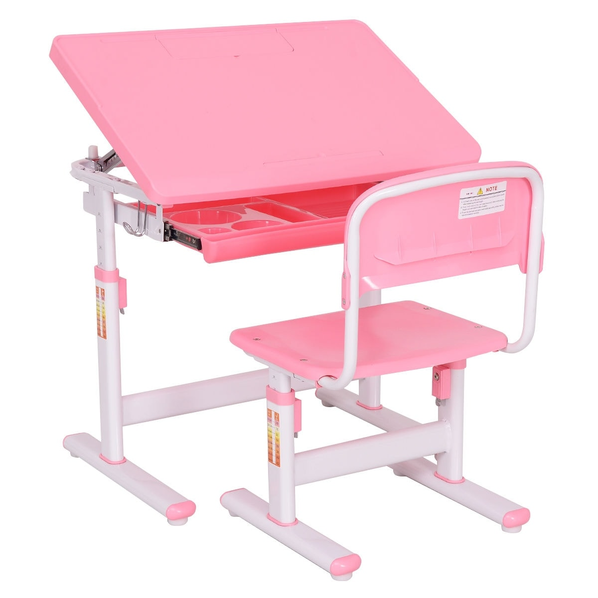 Shop Costway Children Desk U0026 Chair Set Height Adjustable Student Study Kids  Work Station Pink   Free Shipping Today   Overstock.com   16287130