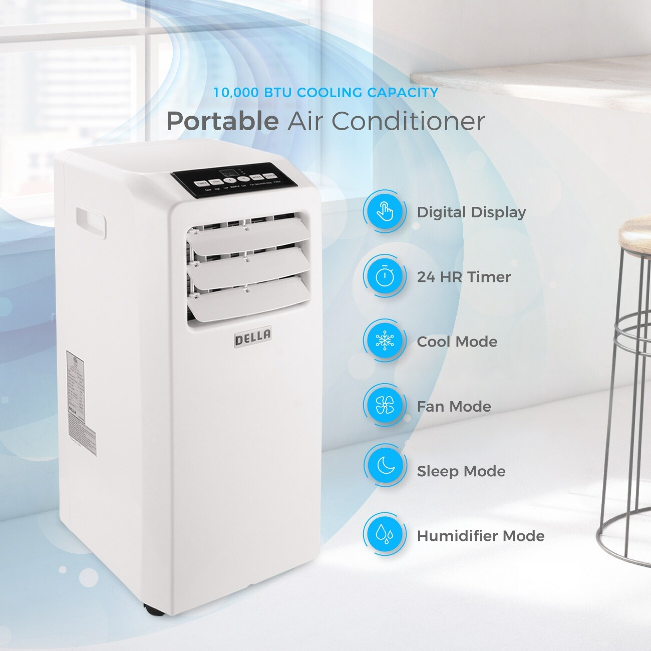 Shop DELLA Air Conditioner Cooling Fan 10000 BTU Portable Dehumidifier A/C  Remote Control Included Window Vent Kit White - Free Shipping Today ...