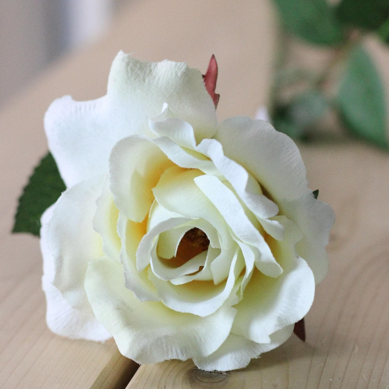 22 Ivory Colored Decorative Mid Bloom Rose Artificial Floral Craft