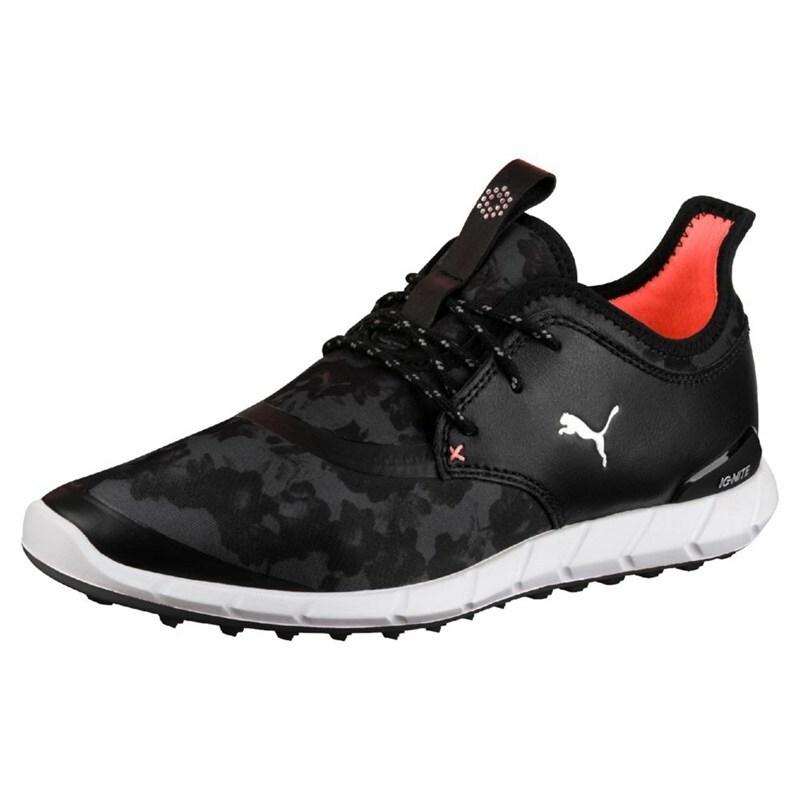 Puma Women s Ignite Spikeless Sport Floral Golf Shoes Black Silver Dark  Shadow 190171-01 489d88b6d