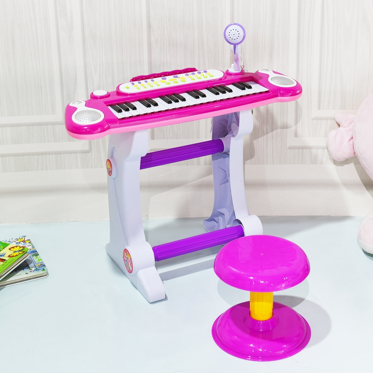 Gymax Kids Electronic Keyboard Piano MP3 Input 37 Key Microphone Stool Toy