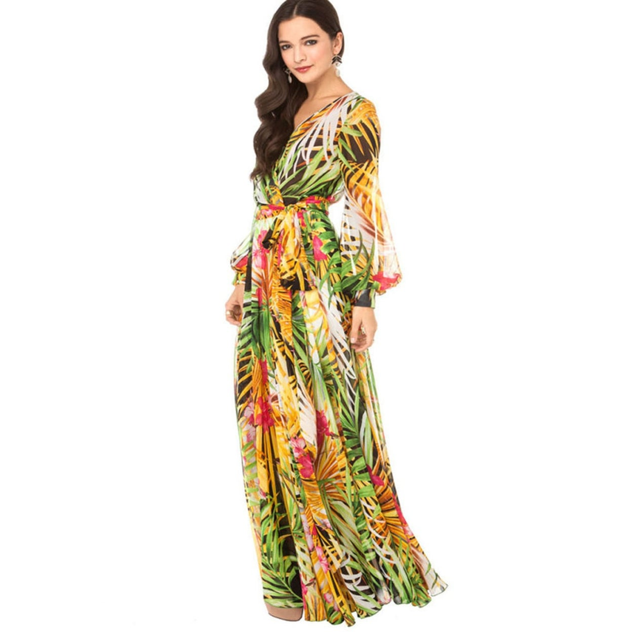 45bb18c36fb Shop Summer Beach V-Neck Long Maxi Boho Dress for Women Floral Printed  Chiffon Dresses Robe - Free Shipping On Orders Over $45 - Overstock -  23030548