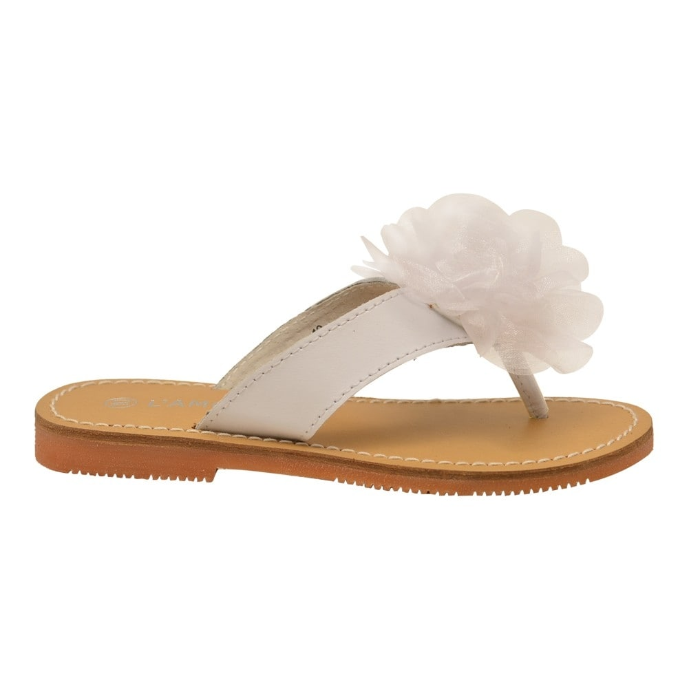 1da5a1c519e Shop L Amour Girls White Organza Flower Adorned Thong Sandals - Free  Shipping On Orders Over  45 - Overstock.com - 25600429