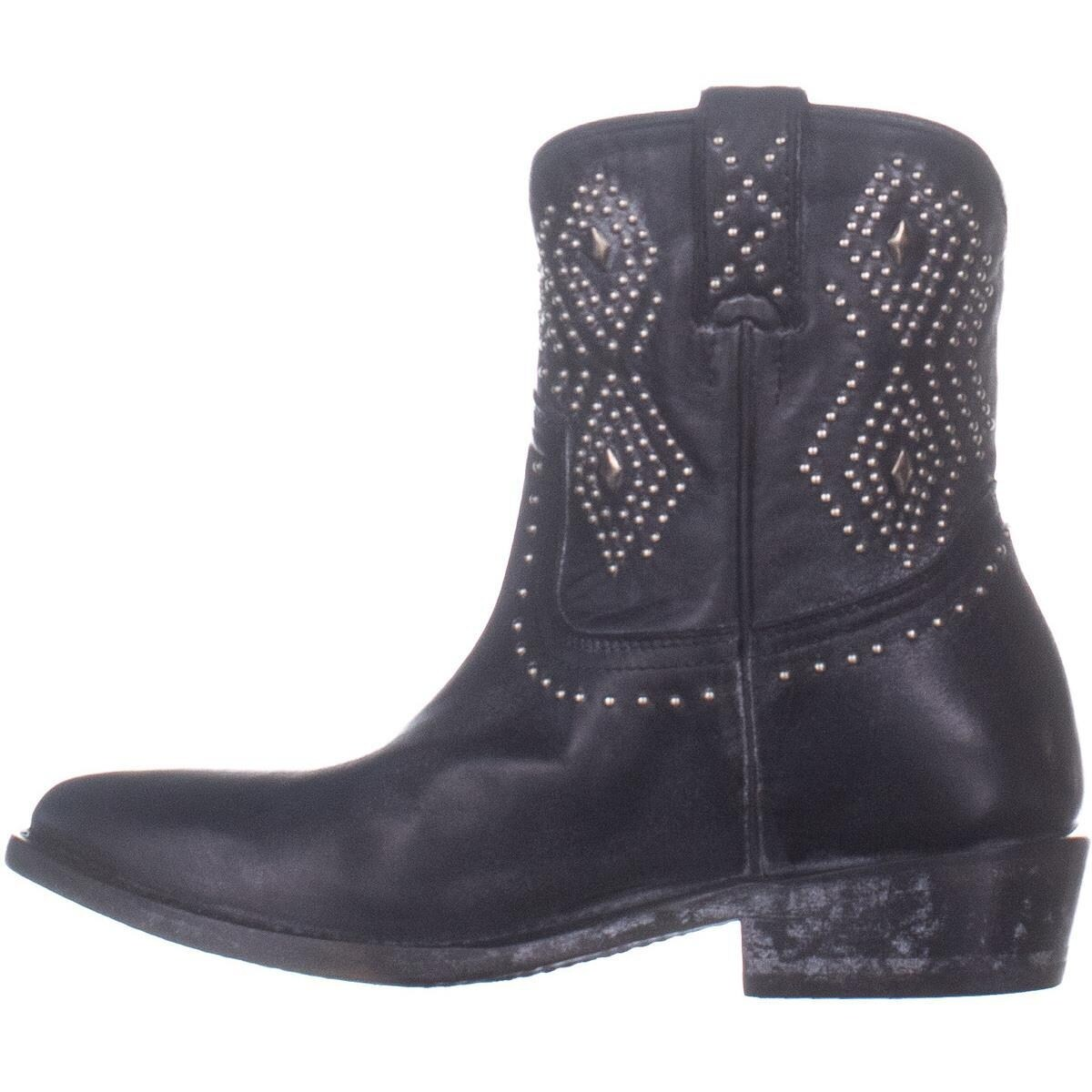 29f58421541 FRYE Billy Stud Short Distressed Western Boots, Black Leather - 8 US
