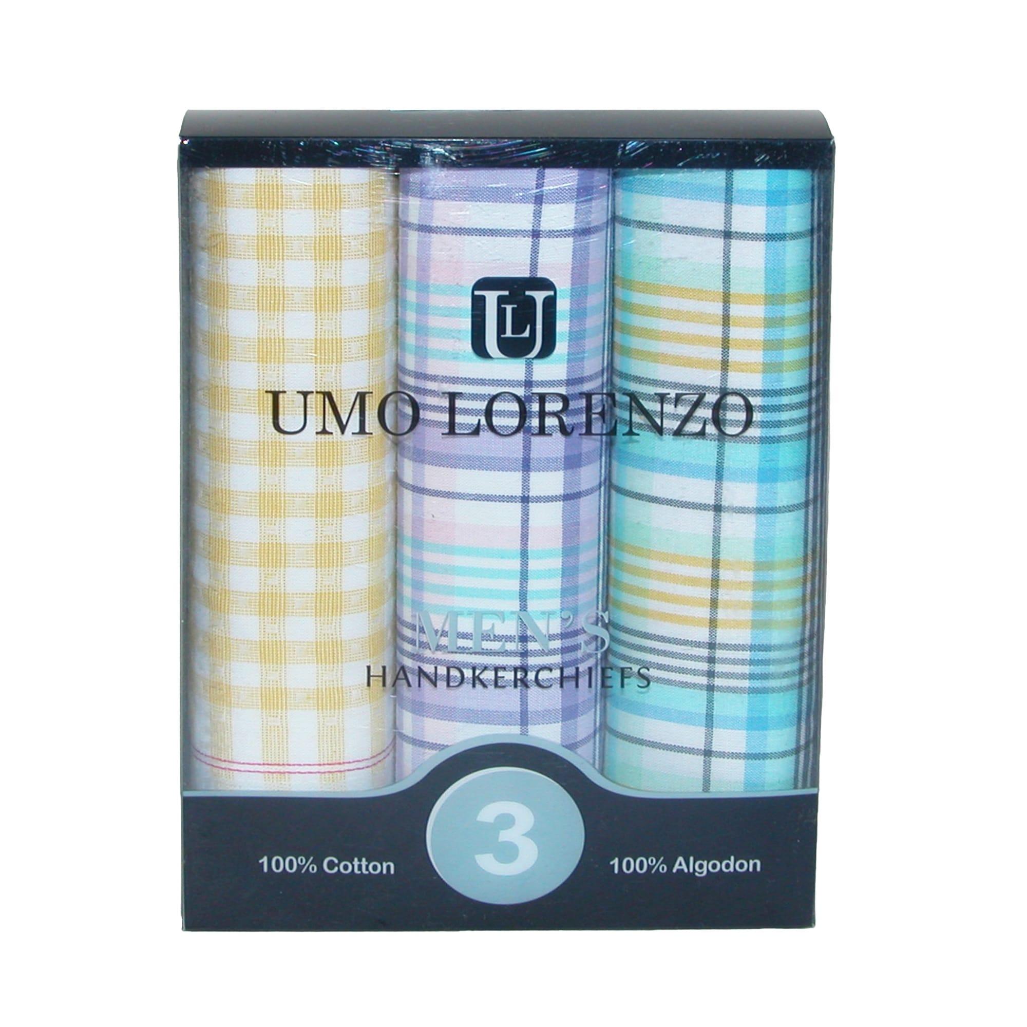 Shop Umo Lorenzo Men\'s Cotton Multi-Plaid Dress Casual Handkerchief ...