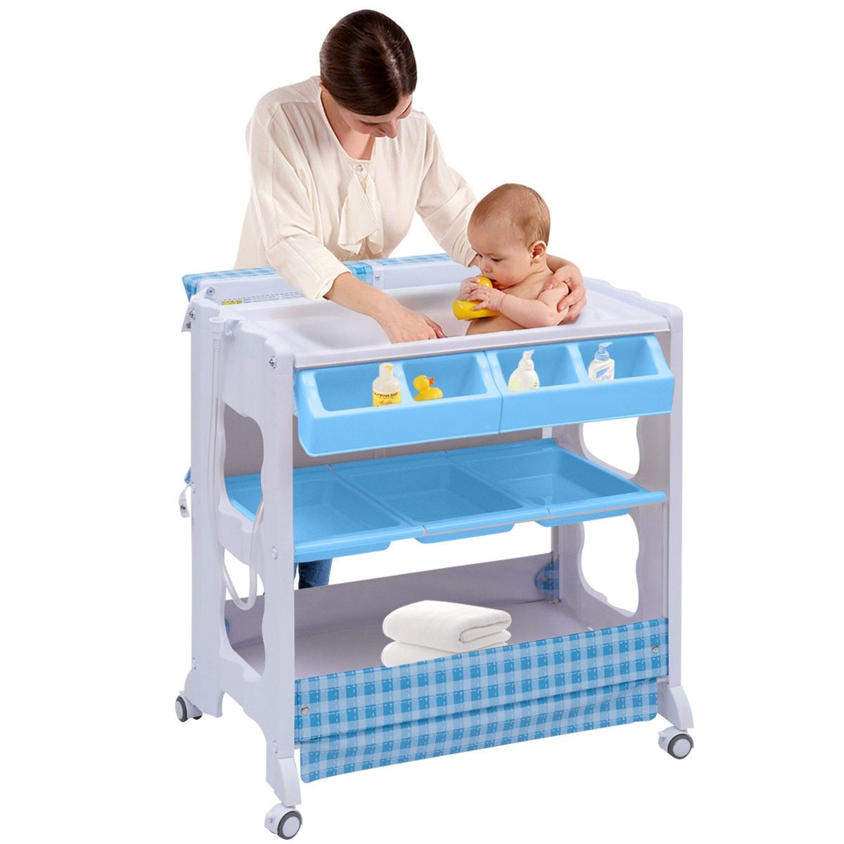 Costway Baby Infant Bath Changing Table Diaper Station Nursery ...