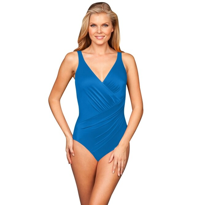 e81e92a4743a83 Shop Miraclesuit Solid Peacock DD-Cup Oceanus Underwire Surplice One Piece  Swimsuit - Green - Free Shipping Today - Overstock - 17662413