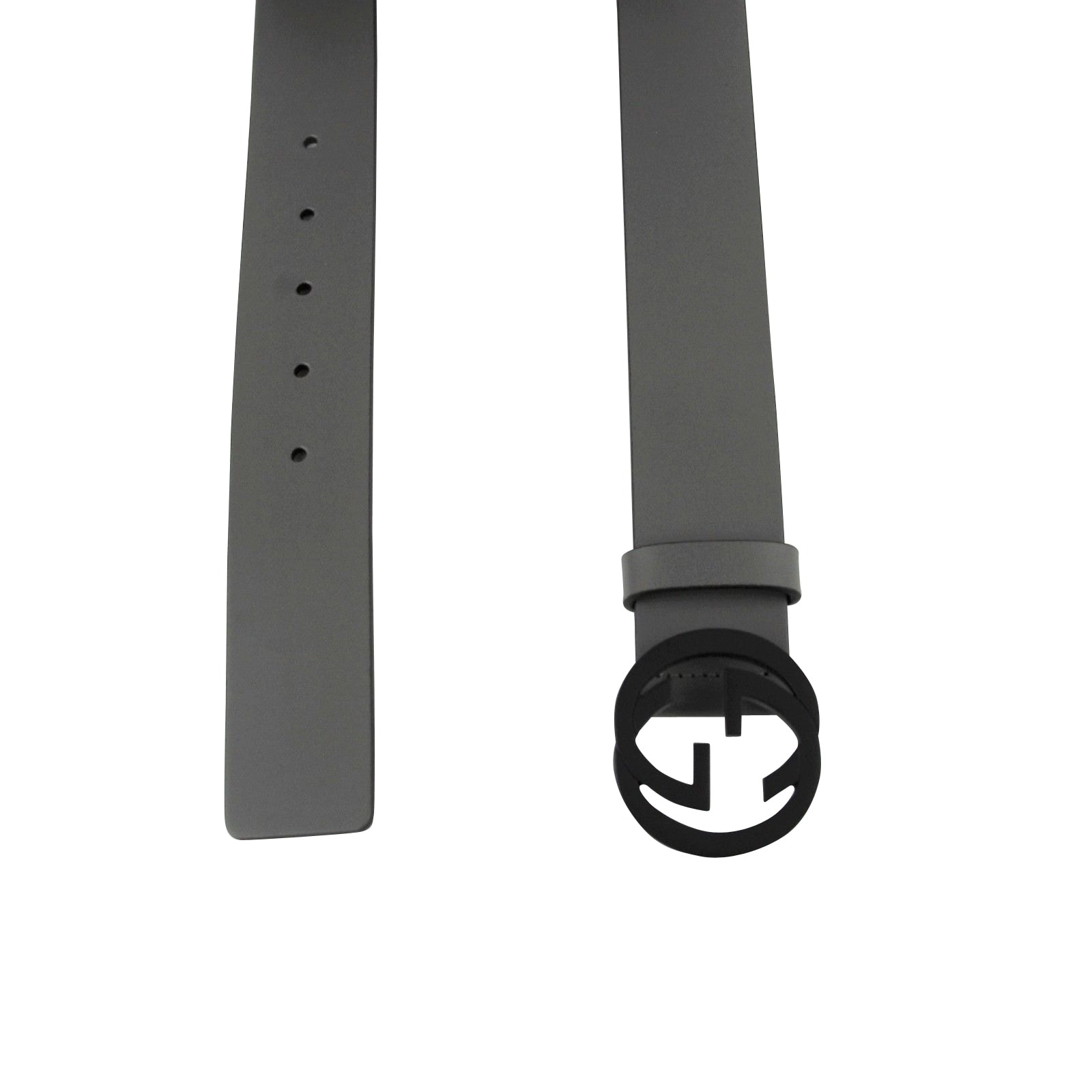 e1b4fb23e3f Shop Gucci Men s Interlocking G Grey Leather Belt with Black Buckle 368186  1226 - Free Shipping Today - Overstock - 25452919