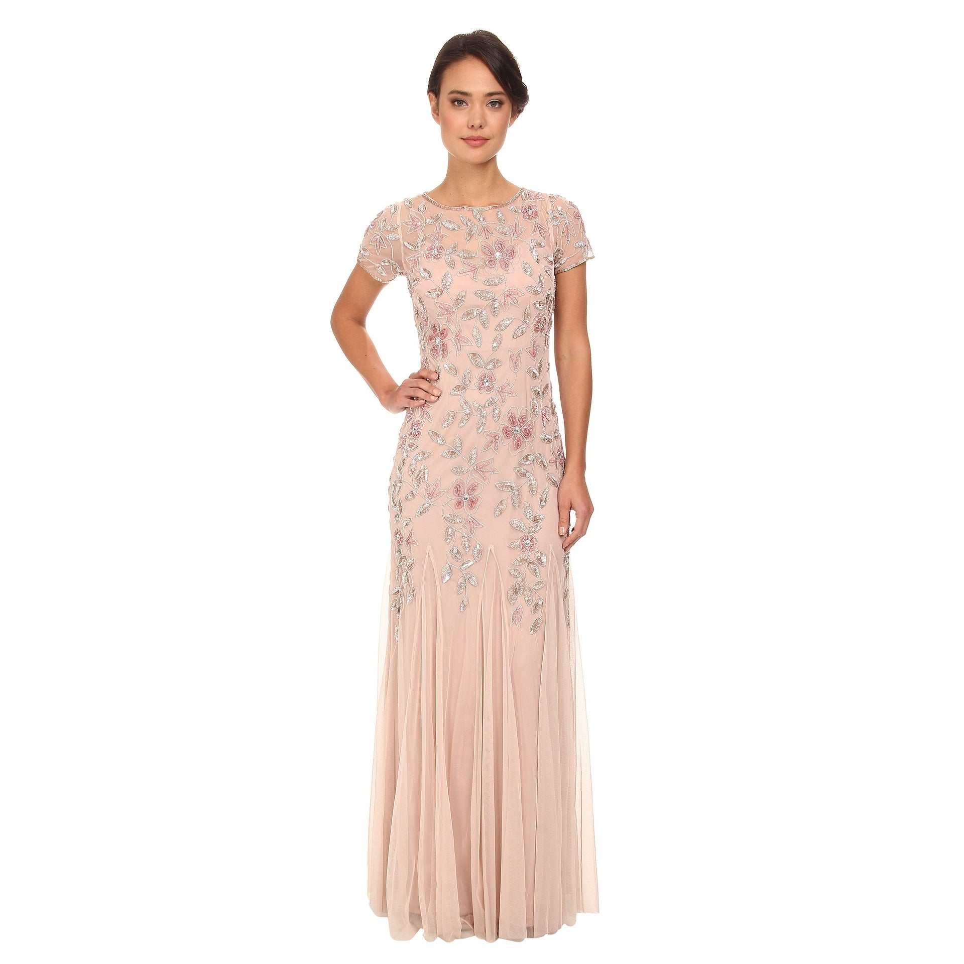 Shop Adrianna Papell Womens Floral Beaded Godet Gown Free