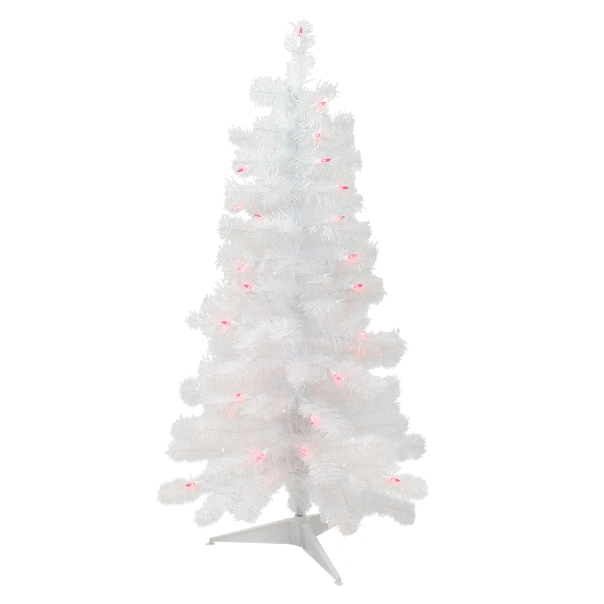 3 Pre Lit White Iridescent Pine Slim Artificial Christmas Tree Pink Lights 3 Foot