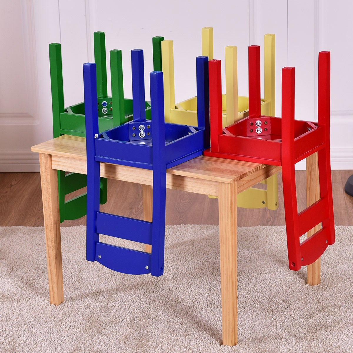 2c3c1ec06363d Shop Costway Kids 5 Piece Table Chair Set Pine Wood Multicolor Children  Play Room Furniture - On Sale - Free Shipping Today - Overstock - 16088559