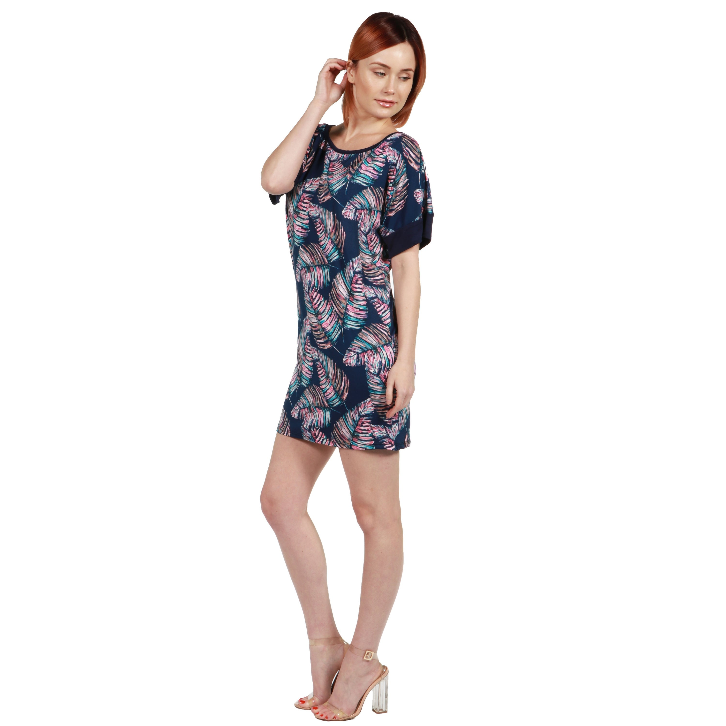 d1229321c71 Shop 24seven Comfort Apparel Taylor Blue Feather Print Mini Dress - On Sale  - Free Shipping On Orders Over  45 - Overstock - 20709958