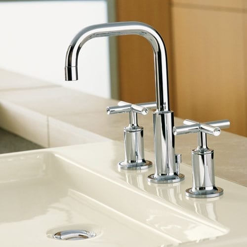 goldbronze purist mounted widespread in kohler bathroom brushed modern gold wall gol faucet vibrant handle kitchen faucets
