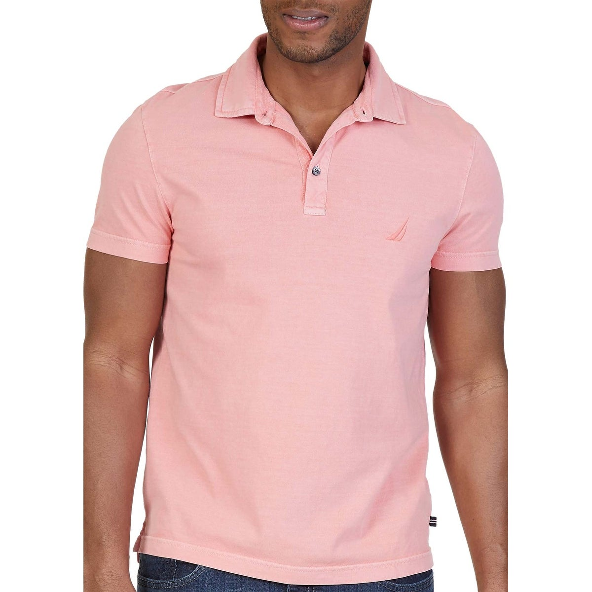 Shop Nautica Classic Fit Pale Coral Pink Dyed Short Sleeve Polo
