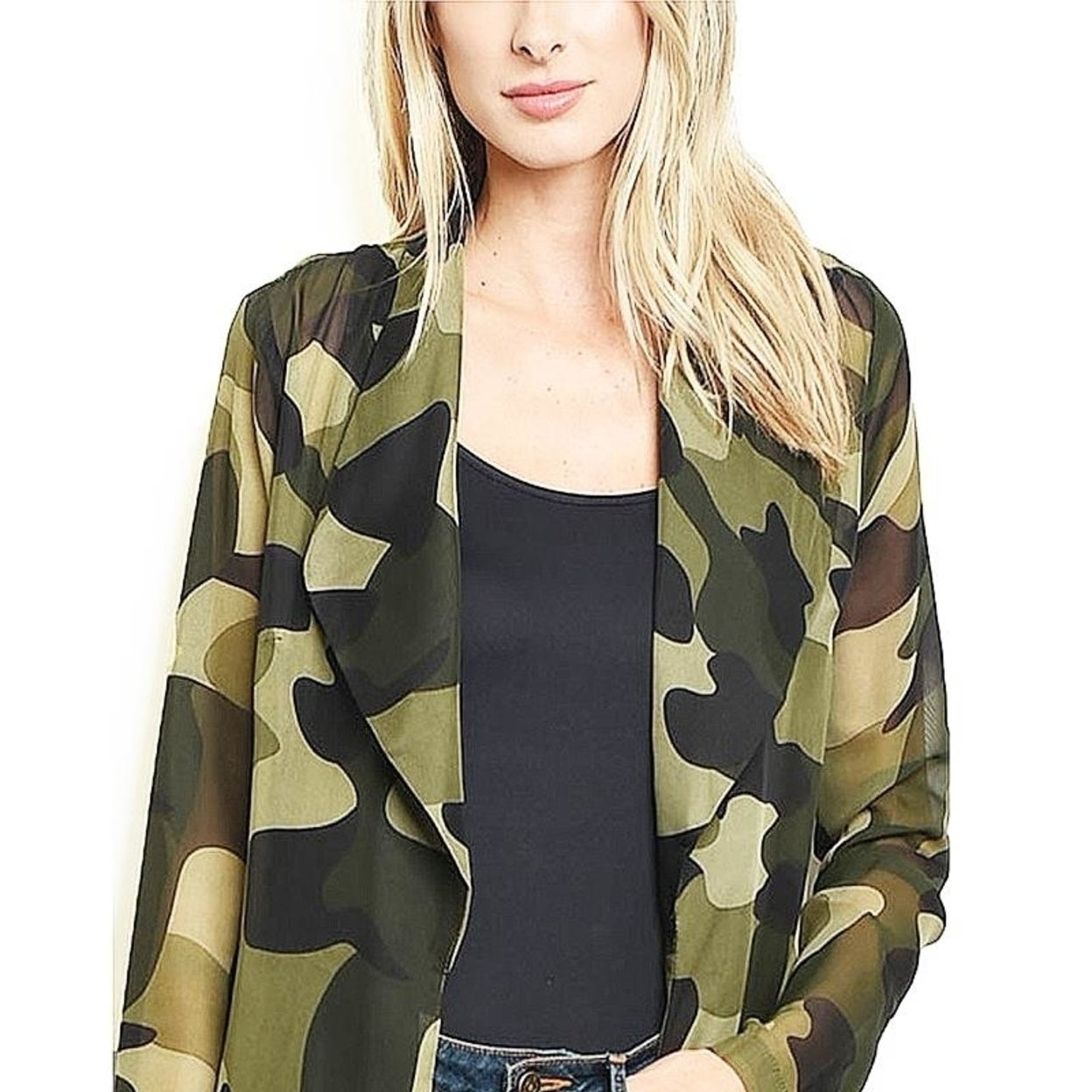 5ba467e04fdb9 Shop BOHO Faux Silk Olive Camouflage Kimono Open Front Maxi Duster Cardigan  - Free Shipping Today - Overstock - 25777274