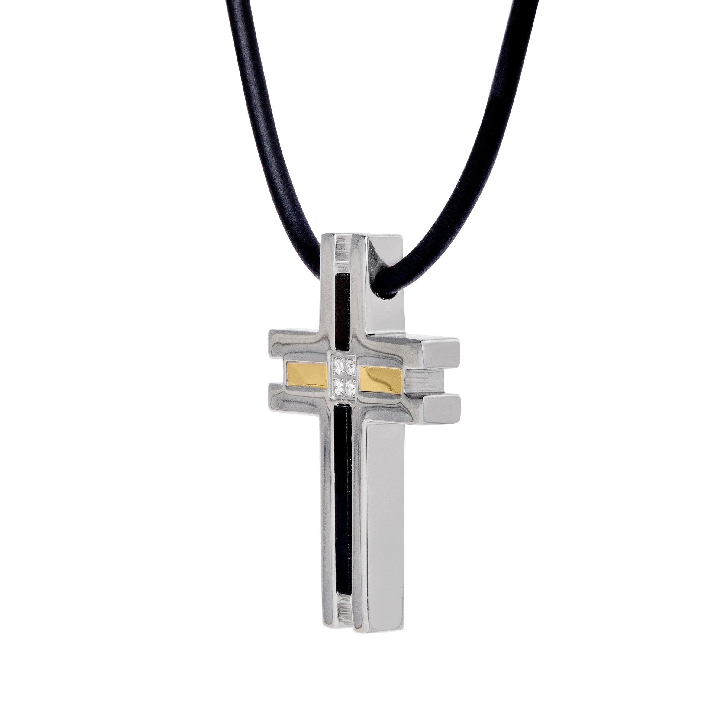 Shop dolan bullock mens onyx cross pendant with diamonds in shop dolan bullock mens onyx cross pendant with diamonds in stainless steel 18k gold free shipping today overstock 15795353 aloadofball Choice Image