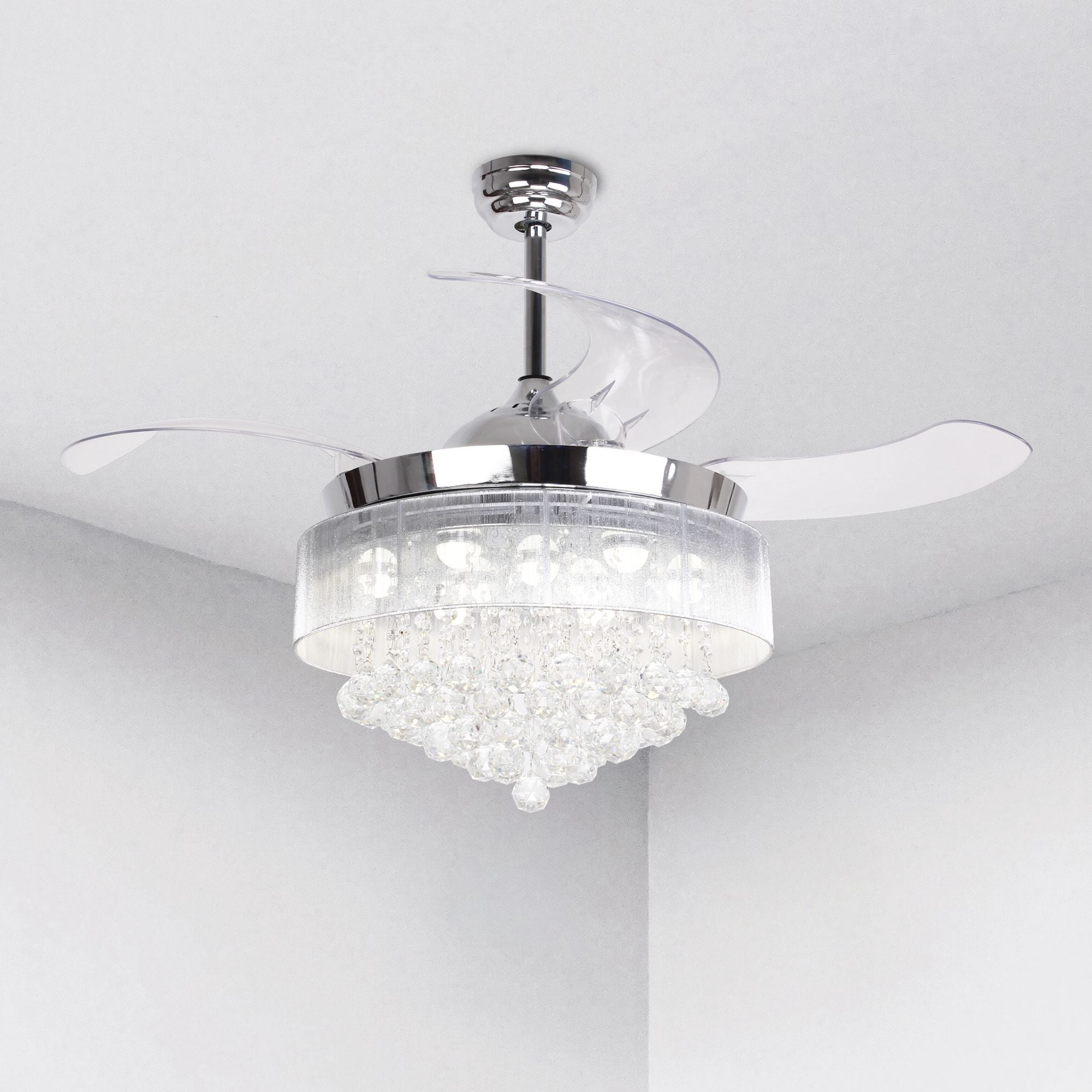 Shop Modern 42.5-inch Foldable 4-Blades LED Ceiling Fans Crystal ...