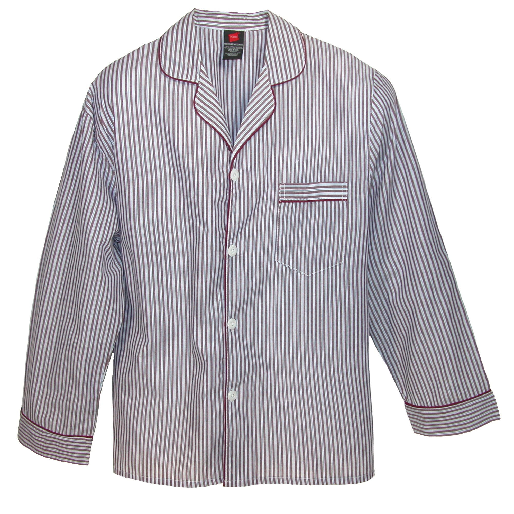 c6764b6bc8bdc Shop Hanes Men's Broadcloth Long Sleeve Pajama Set - Free Shipping On Orders  Over $45 - Overstock - 14294962