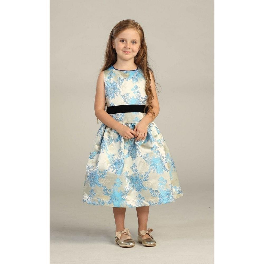 46d977ff3 Shop Angels Garment Girls Velvet Ribbon Jacquard Ivory Blue Christmas Dress  5-10 - Free Shipping On Orders Over $45 - Overstock - 18168237