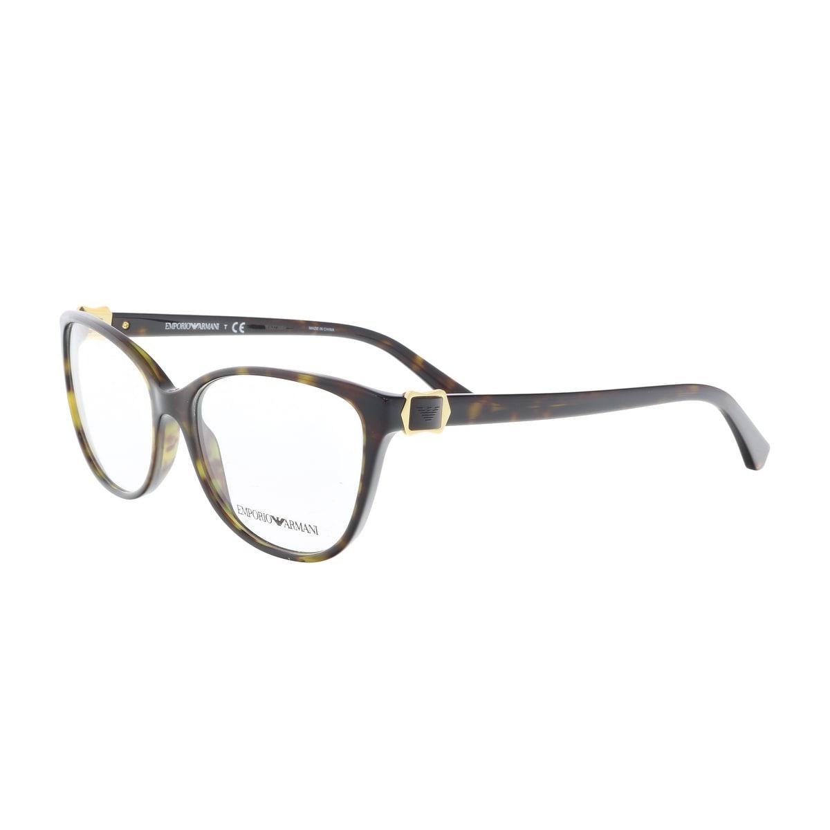 Shop Emporio Armani EA3077 5026 54 Dark Havana Round Optical Frames ...