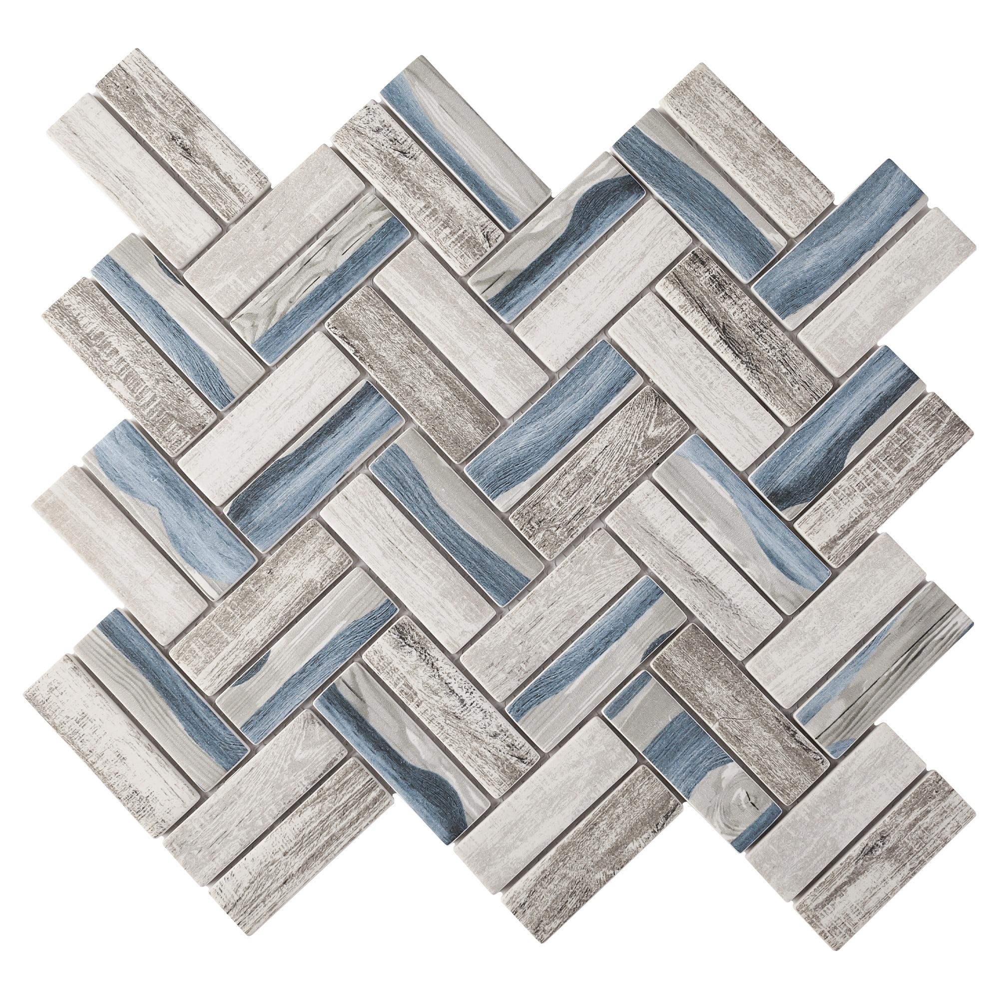 tilegen recycle herringbone wooden look 1 x 3 glass mosaic tile in blue gray wall tile 10 sheets 9 6sqft